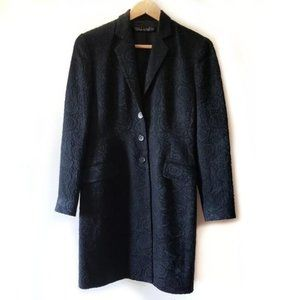 TAHARI Black Floral Embroidered Wool Overcoat 4